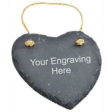 Laser Engraved Personalised Gift Hanging Slate Heart Shape
