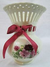 Formalities By Baum Bros. Porcelain Flower Vase With Gold Trim And A Red Ribbon