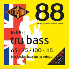 Rotosound RS88EL Black Nylon Tru Bass Guitar Strings - Extra Long Scale - 65-115