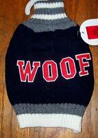 "NEW Size XS Top Paw Black w Grey Turtleneck ""Woof"" Dog Pet Sweater Clothing"