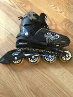 Rollerblade Adjustable Skates W/ Bag Blade runner Phoenix BLACK BLUE Sz J 5-8