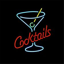 Cocktails Martini Glass Neon Light Sign Display Shop Store Beer Bar Club 17x14""