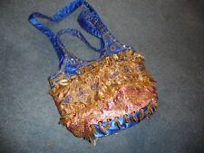 11/11 vtg handbag multi color blue satin embroidered sequins dangling gold leafs