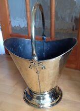 STUNNING Vintage Brass HELMET Coal Scuttle Log Bucket Fireside Swing handle