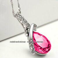 Teardrop Pink Crystal Necklace Love Gifts For Her Wife Girlfriend Sister Women