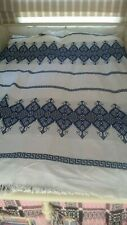 "Bedspread Throw Geometric Pattern in Blue on White 78"" X 61"""