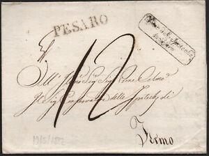 ✔️ ITALY 1822. RARE STAMPLESS DOCUMENT LETTER Prefilatelica PESARO TO FERMO