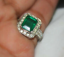 Natural Colombian emerald 18 k white gold diamond ring Angelina jolie style