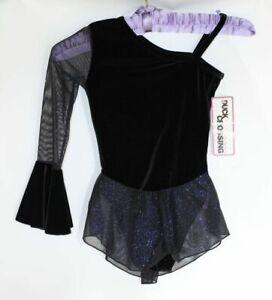 Ice skating dress Tap leotard Twirling Black Velvet Glitter mesh skirt- Age 4-6