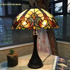 Tiffany Style Victorian 2 light Antique Bronze Table Lamp Brown Stained Glass