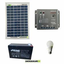 Kit Iluminación panel placa solar 5W 12V bombilla LED 7W batería 7Ah 3 horas