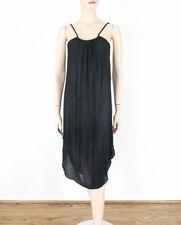 Aqua Gold Bar Shirt Tail Dress Black Crinkle Shift S $118 8501 BM7