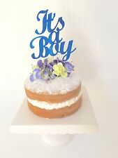 'It's A Boy' Dark Royal Blue Glitter Cake Topper, Baby Shower Cake Decoration
