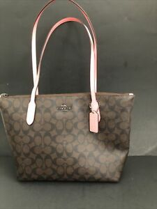 Womens COACH Purse Designer Handbag LOGO Shopper Hobo Bag Retail $278
