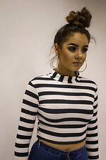 Womens Ladies Mono Stripe High Neck Long Sleeve Crop Top