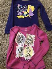 Lot Of 2 - Disney Princess Pink Waffle Thermal & Rapunzel Purple Shirt