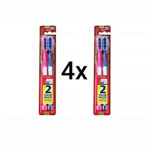 4 × Colgate Double Action Toothbrush Medium Bristles 4 Tooth Brushes 2 Pack