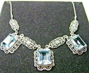 NATURAL Blue Topaz Festoon Sterling Silver Drop Necklace (Custom-Made)*