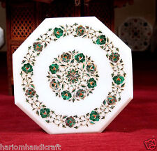 """12"""" White Marble Side Table Top Malachite Gems Rose Floral Arts Home Decor H633"""