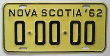 Nova Scotia 1962 SAMPLE License Plate HIGH QUALITY # 0-00-00