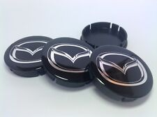 MAZDA 4 x Plastic Wheel Centre Cap Hubs with Silicone Logo 60mm/55mm NEW