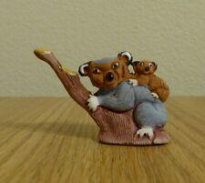 Vintage Handmade Tam Peruvian Clay Koala and Cub Figurine from Peru