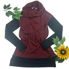 Hugs From Soft Surroundings Saturday Pullover Sweater Color Block XS Red Black