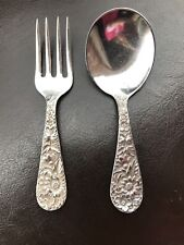 """Kirk&Son REPOUSSE STERLING SILVER Baby Fork and Spoon Set L 3 3/4"""""""