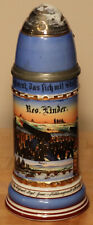 1/2L Old Antique German Regimental Porcelain Artillery beer stein + lithophane