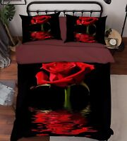 3D Red Rose 203 Bed Pillowcases Quilt Duvet Cover Set Single Queen King Size AU