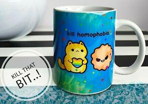 Cute gay Mug Kill Homophobia With Cutness LGBT flag Coffee Cup Gay Pride