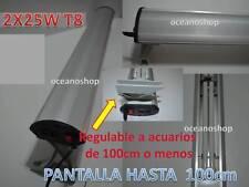 PANTALLA 100cm LUZ ACUARIO T8 2x25W Fluorescente Bajo Consumo 50W para Acuario