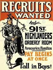PROPAGANDA WAR WWI CANADA RECRUIT ENLIST PIPER HIGHLANDER POSTER PRINT BB7027B