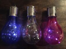 Three Solar Powered Hanging Light Bulbs Blue/Clear/Red Solar Garden Lights