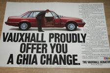 VAUXHALL SENATOR - GHIA CHANGE - magazine CAR ADVERT poster size 12 x 18 in