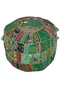 Fabric Pouf Ottoman Stool Indian Design Vintage Patchwork Foot Stool Cover Decor