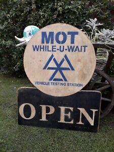 MOT OPEN sign shell mancave pratt's garage motorcycle NORTON AJS CLASSIC CAR BSA
