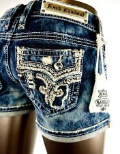 """$180 Rock Revival Jean """"Betty"""" Champagne Leather Inserts Acid Wash Shorts Sz 28"""