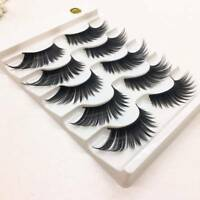 5 Pairs 100% Real Mink 3D Volume Corner Thick False Lashes cn Eyelashes Strip