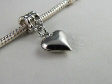 "SILVER PLATED CUTE ""HEART"" DANGLE CHARMS  FOR EUROPEAN STYLE CHARM BRACELETS 127"