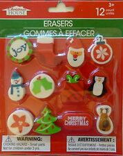 New Christmas House 12 Count Christmas Erasers Party Gift Stocking Filler Joy