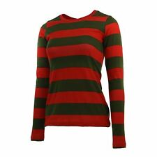 Long Sleeve Nightmare Freddy Horror Olive Red Striped Shirt Costume Women XS-2XL
