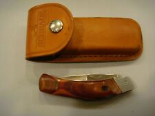 FURY Folding Hunter Bowie Knife with Wood Handle and Leather Sheath