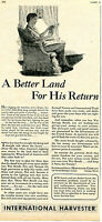 1943 International Harvester IH Tractor WWII Ad A Better Land For His Return