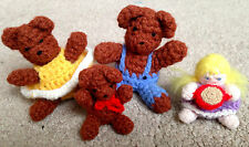 Adorable Dollhouse Miniature Artist Set 4 Goldilocks & 3 Bears Crocheted Dolls