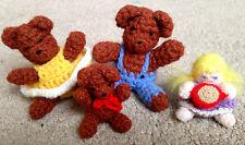 Adorable Dollhouse Miniature Artist Set 4 Goldilocks & 3 Bears Crocheted Dolls