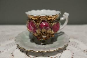 Antique Victorian Demitasse Duo - Green Lustre - Heavily Embossed Pattern - Gc