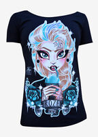 BRAND NEW WOMENS Lowbrow Art Company FROZEN Tee Shirt BLACK SMALL-XLARGE ELSA