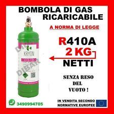 BOMBOLA DI GAS REFRIGERANTE R410A DA 2KG 2,5LT RICARICABILE SENZA RESO DEL VUOTO