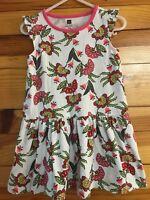Tea Collection Dress Flutter Sleeves White Floral Print w/Pink Trim EUC Girls 2